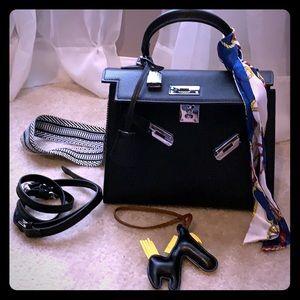 Handbags - Genuine Leather Kelly Style Crossbody Bag